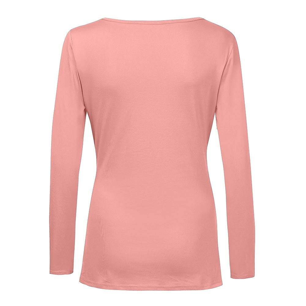 Honestyi Manches Longues col v Couleur Pure pliss/é Slim Tops Casual Blouse Mode pour Femmes Unie Solide Veste Hauts V/êtements d/'Hiver Femme