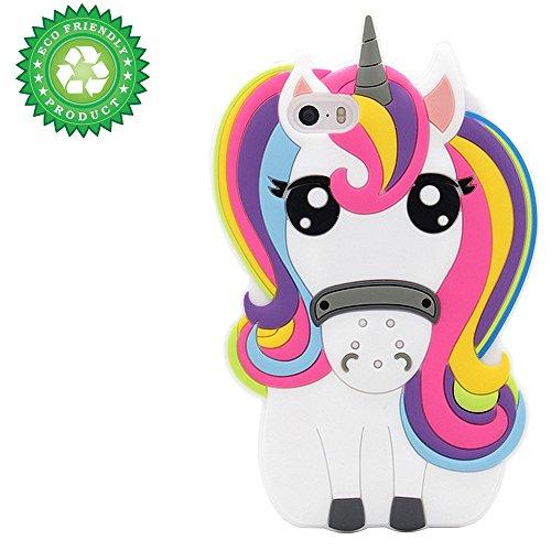 iPhone SE Case, iPhone 5C Case, iPhone 5 5S Case Cover, 3D Cartoon Rainbow Unicorn Kids Girls Silicone Animals Soft Rubber Shockproof Protector Shell Skin for iPhone 5/5S/5C/SE - Unicorn