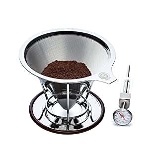 OmBrew Eco-Friendly Pour Over Stainless Steel Reusable Coffee Dripper with Separating Stand -Bundle with Dial Thermometer- Dishwasher Safe and Serves 1-4 Cups
