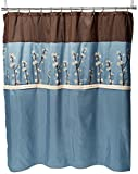 Blue Brown Shower Curtain Triangle Home Fashions 19259 Lush Decor Cocoa Flower Shower Curtain, 72 X 72 Inches, Blue/Brown