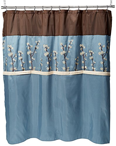 Triangle Home Fashions 19259 Lush Decor Cocoa Flower Shower Curtain, 72 X 72 Inches, Blue/Brown (Lush Decor Home Triangle Fashions)