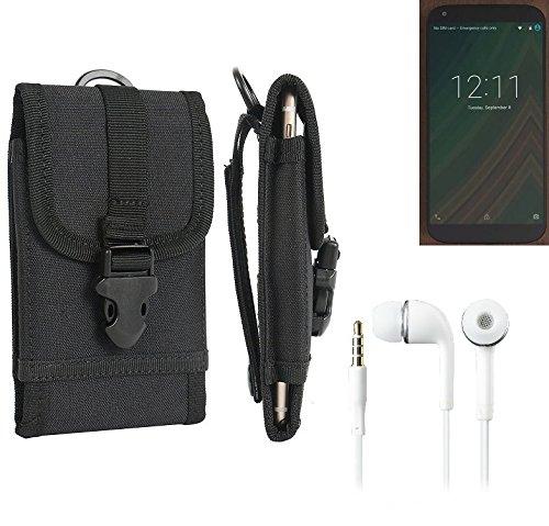 bolsa del cinturón / funda para LG Electronics Google Nexus 5X, negro + Auriculares   caja del teléfono cubierta protectora bolso - K-S-Trade (TM)