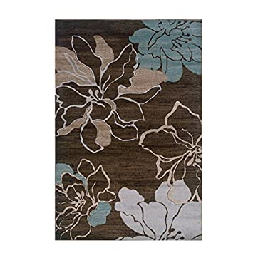 High Quality Linon Rugs Milan Flower Rectangular Area Rug In Brown And Turquoise   5u0027 X 7