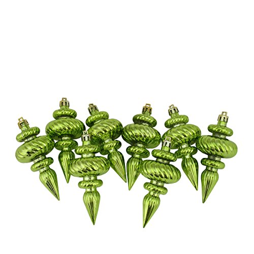 Plastic Finial (Northlight 8 Count Shiny Kiwi Green Swirl Shatterproof Christmas Finial Ornaments, 4.25
