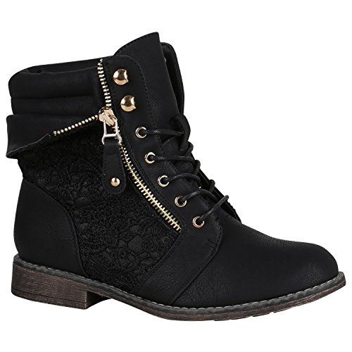 up Leather Camouflage Lace Spitze Schwarz Ladies' look 3 Ankle Sizes 9 Boots Flandell® Booties Carlet Block Heel Boots worker wSx48Iq0