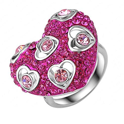 "RI06023C1-7 ""Romantic Rose"" Austrian Crystal 18K Ring"