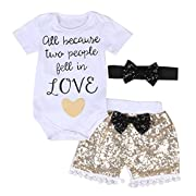 Baby Girls  Love  Short Sleeve Bodysuits + Gold Sequins Tassels Shorts Pants Outfit with Headband (0-6 months, white+gold)
