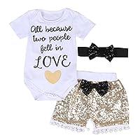 "Baby Girls ""Love"" Short Sleeve Bodysuits + Gold Sequins Tassels Shorts Pants ..."