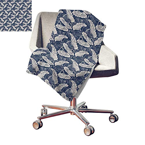 Lotus Lightweight All-Season Blanket Hand Drawn Leaves and Flowers Eastern Culture Plant Zen Themed Garden Earthy Microfiber All Season Blanket Dark Blue Eggshell Bed or Couch 80