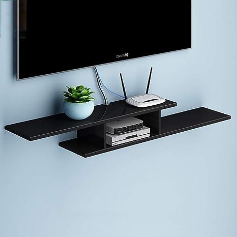 ZPWSNH Soporte para TV de Madera Caja con Cable Enrutador Consola de Medios Control Remoto Reproductor de DVD Máquina de Juegos Estante Flotante Consola de Audio/Video Mueble para TV de Pared: Amazon.es: