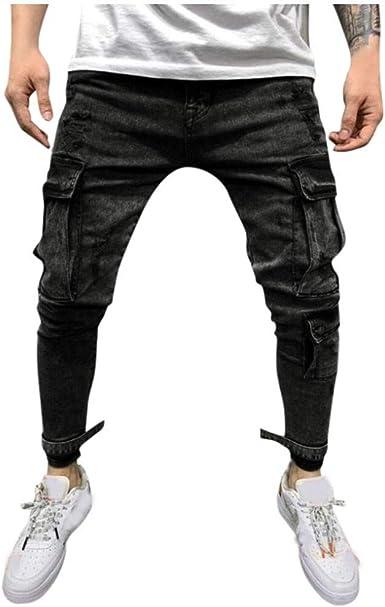 Felz Pantalones Vaqueros Hombre Elasticos Pantalones De Vestir Hombres Jeans Rectos De Moda Para Hombre Pantalones Vaqueros Multi Bolsillo Casual Trousers Amazon Es Ropa Y Accesorios