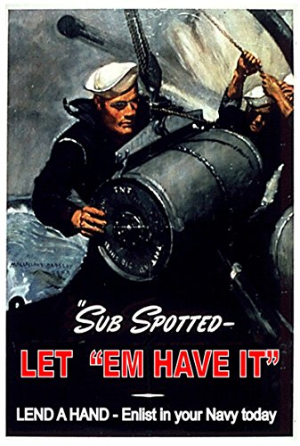 Old Tin Sign Sub Spotter 8 x 12 Inches WWII World War 2 ii Recruiting Posters 100% MADE IN THE (Stuff Inside Tin Sign)