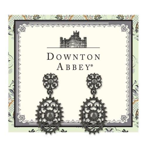 Downton Abbey Jet-Tone Hematite Crystal Oval Filigree Drop Earrings - Oval Hematite Ring