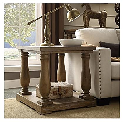 Living Room Rectangle Rustic Baluster Weathered Pine End Table