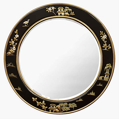 ChinaFurnitureOnline Chinoiserie Wall Mirror, 30 Inches Hand Painted Chinese Scenery Round Hanging Mirror Black