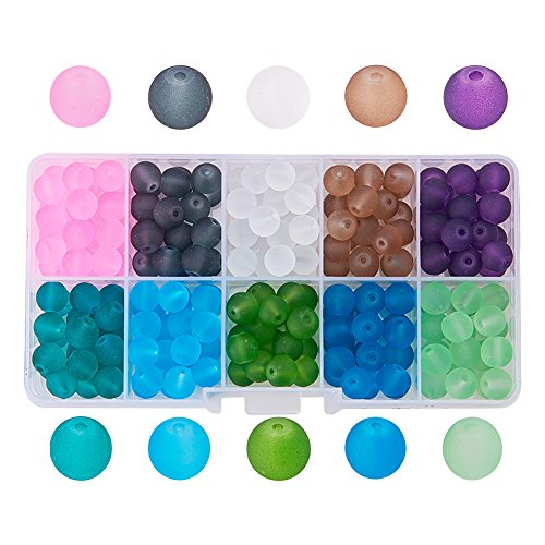 Pandahall 1 Box (About 250pcs) 10 Color 8mm Frosted Glass Bead Assortment Lot for Jewelry Making