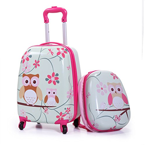 Luggage Toddler (Tobbi 2PcKids Carry On Luggage and Backpack Upright Hard Side Hard Shell Suitcase 12