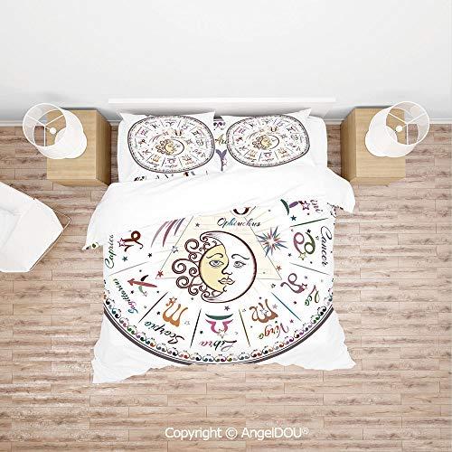 PUTIEN Soft Microfiber Duvet Cover Set (1 Duvet Cover+ 1 Sheet +2 Pillow Cases) Bedding Set,Western Chart with All Signs Aries Virgo Leo Taurus Libra Mystique Fate Calendar,with Zipper Closure Home B