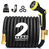 NAYAHOSE 50ft Expandable Garden Hose Expanding Water Hose, Flexible Gardening Hose 50' Car Wash Lightweight Yard Outdoor Cloth Hoses with 3/4 inch 100% Solid Brass Fittings 9 Function Hose Nozzle