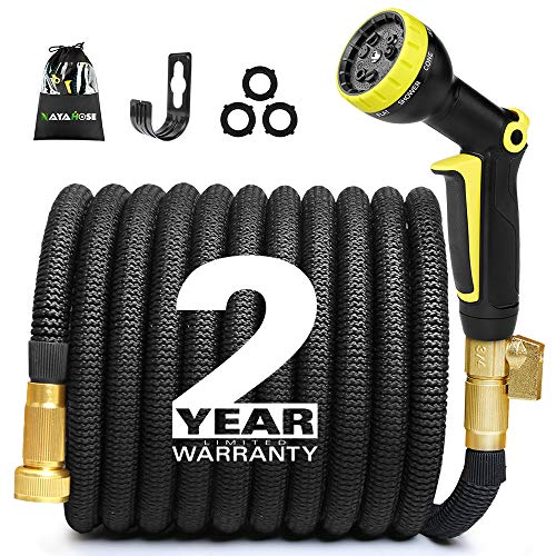 NAYAHOSE 50ft Expandable Garden Hose Expanding Water Hose, Flexible Gardening Hose 50' Car Wash Lightweight Yard Outdoor Cloth Hoses with 3/4 inch 100% Solid Brass Fittings 9 Function Hose Nozzle by NAYAHOSE