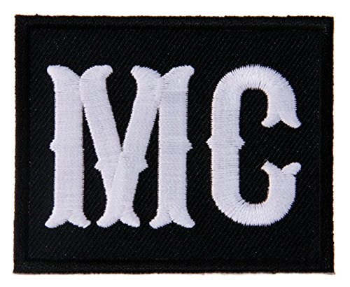 (MC - White Text on Black Motorcycle Club Member Biker Jacket Vest Patch )
