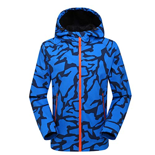 KinYanilsn Hiking Soft Shell Waterproof Outdoor Sports Hooded Coat Windproof Trekking Camping Clothing Blue L ()