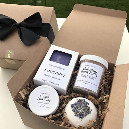 Lavender Spa Box Set for Women, Vegan Natural Birthday Gift for Mom, Bridesmaid, Bride, BFF