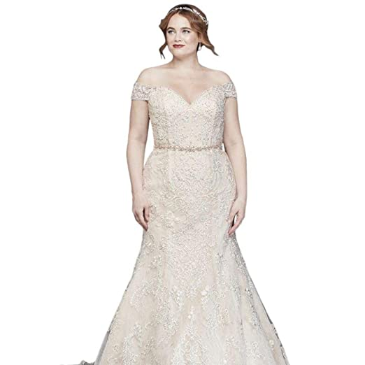 Beaded Lace Mermaid Plus Size Wedding Dress Style 8XTCWG808 at ...
