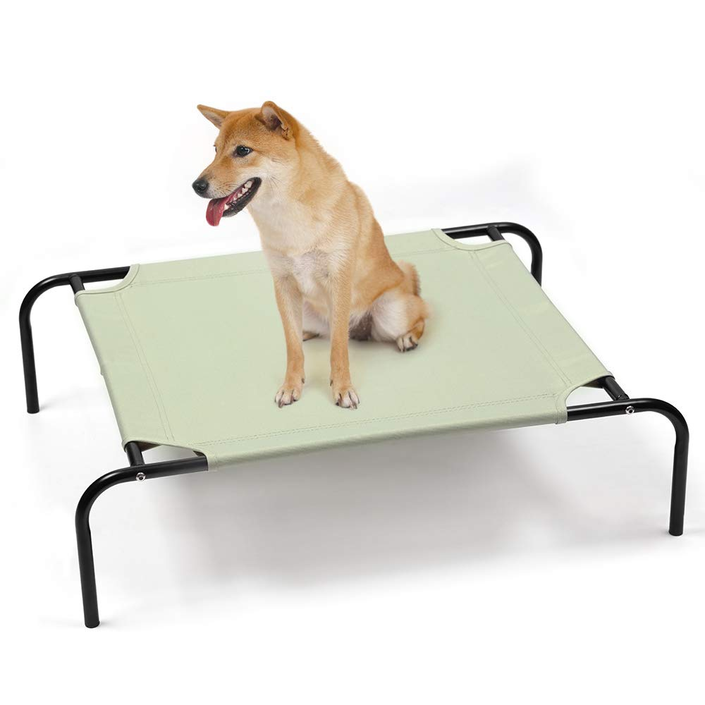 Elevated Dog Bed, Cooling Raised for Small Dogs & Cats, Waterproof Portable Pet Cot Bed for Camping Beach Outdoor Indoor Use Green