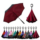 Spar. Saa Double Layer Inverted Umbrella with C-Shaped Handle, Anti-UV Waterproof Windproof Straight Umbrella for Car Rain Outdoor Use (New Wine Red)