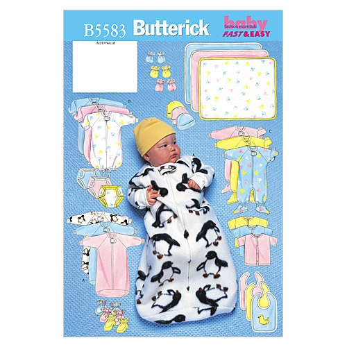 Butterick Patterns B5583 Infants' Bunting, Jumpsuit, Shirt, Diaper Cover, Blanket, Hat, Bib, Mittens and Booties, Size LRG (Sewing Pattern Book Cover)
