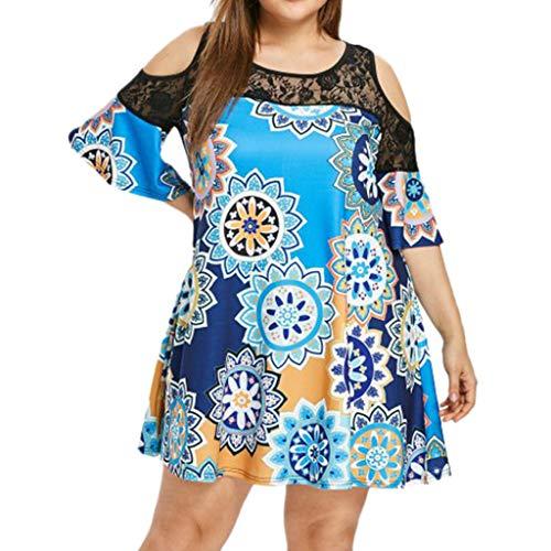 Womens Short Dress Plus Size Casual Boho Print Knee-Length Dress Lace Splice Short Sleeve Dress Mini Dress Blue