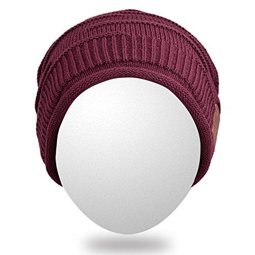 oído del hilos del del del tejida la adulta cubiertas Sombrero sombrero Mydeal Bluetooth auricular auricular gorrita Gorrita del de alta Gorro Bluetooth con unisex Mic del Gorra moda Borgoña BB027 suave de caliente xqnBwUT