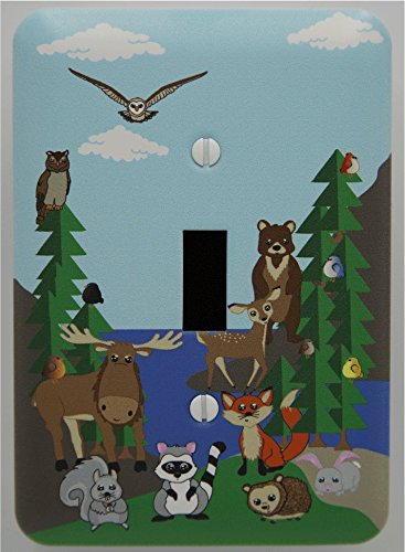 nd Forest Animal Light Switch Plate and Outlet Covers, Children's Nursery Decor with Owls, Birds, Fox, Bear, Squirrel, Deer, Hedge Hog, Moose and a Raccoon. (Single Toggle) (Woodland Babies Plate)