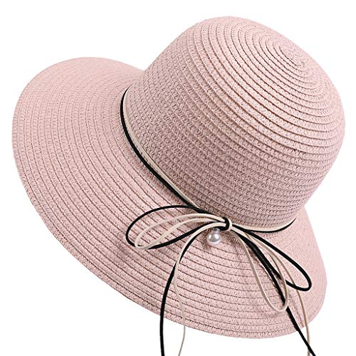 Meidexian888 Wide Brim Sun Straw Hat for Women,Ladies Summer Outdoor Sunshade UV Protection Derby Hat Floppy Foldable Cap (Pink) -