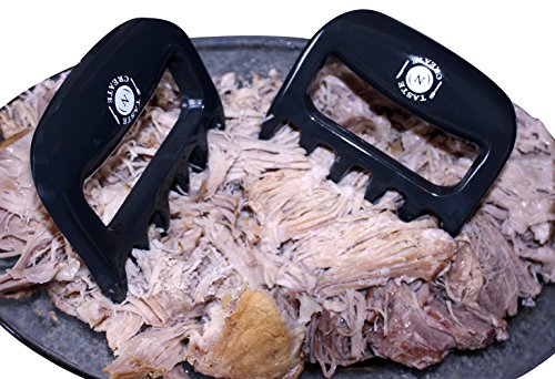 BEAR CLAWS for pulled pork,chicken,beef and more-Superior Grey BBQ forks-Meat shredders**Free Storage bag included and E Recipe Book included**