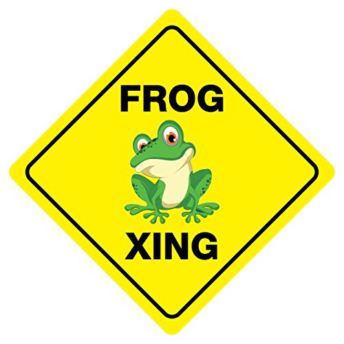 """FROG CROSSING Funny Novelty Sign 12""""x12"""""""