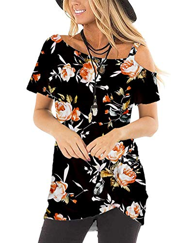 Womens Shirts Short Sleeve Summer Sexy Tops Floral Crew Neck Knotted Black M
