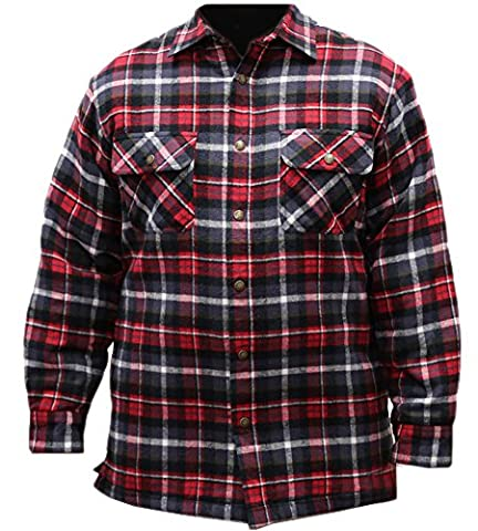 Canyon Guide Outfitters Men's Sherpa Lined Flannel Plaid Shirt Jacket (XX-Large, Red Plaid) - Canyon Guide