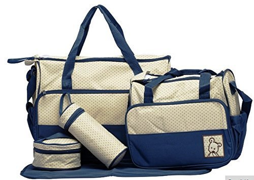 Baby Bucket Baby Diaper Nappy Changing Baby Diaper Bag/Baby Bag/Mummy Bag/Handbag (5 pcs. Set Navy Blue)