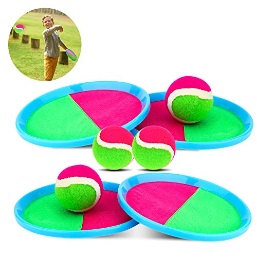 Self-Stick Toss and Catch Game Set,Velcro Disc Paddles and Toss Ball Sports Appliance,Interactive Game Set with 4 Paddles, 4 Balls and 1 Storage Bag,Suitable for Kids and Lovers to Make Fun (Blue)