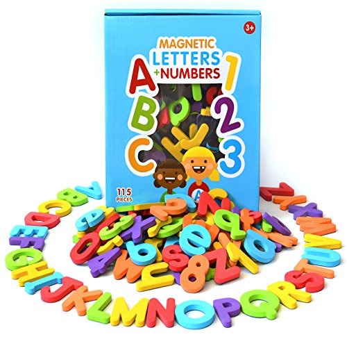 Curious Columbus Magnetic Letters and Numbers. Set of 115 Premium Quality ABC, 123 Colorful Foam Alphabet Magnets Best Educational Toy for Preschool Learning, Spelling, Counting from Curious Columbus