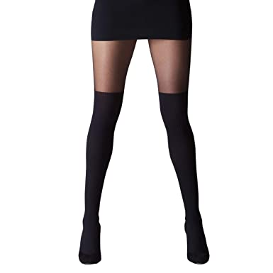 fd658a19d52 GIPSY MOCK OVER KNEE TIGHTS ONE SIZE BLACK MADE IN ITALY  Amazon.co ...