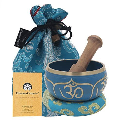 (DharmaObjects ~ Tibetan OM Singing Bowl Set ~ With Mallet, Brocade Cushion & Carry Bag ~ For Meditation, Chakra Healing, Prayer, Yoga (OM, Turquoise) )