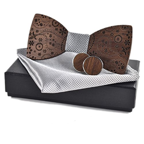 Amzchoice Classic Handmade Mens Wood Bow Tie with Matching Pocket Square and Mens Cufflinks Set (SET-131)