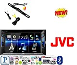 JVC KW-V130BT Double DIN Bluetooth In-Dash DVD/CD/AM/FM Car Stereo w/ 6.2'' Clear Resistive Touchscreen + CAM-600 License Plate Bolt-On Rear View Camera w/ Built-In I.R. Camera