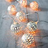 LED Globe String Lights - Goodia Battery Operated 10.49Ft 30er Silver Moroccan Lamp for Indoor - Bedroom - Curtain - Patio - Lawn - Landscape - Fairy Garden - Home - Wedding - Holiday - Christmas Tree - Party (Warm White)