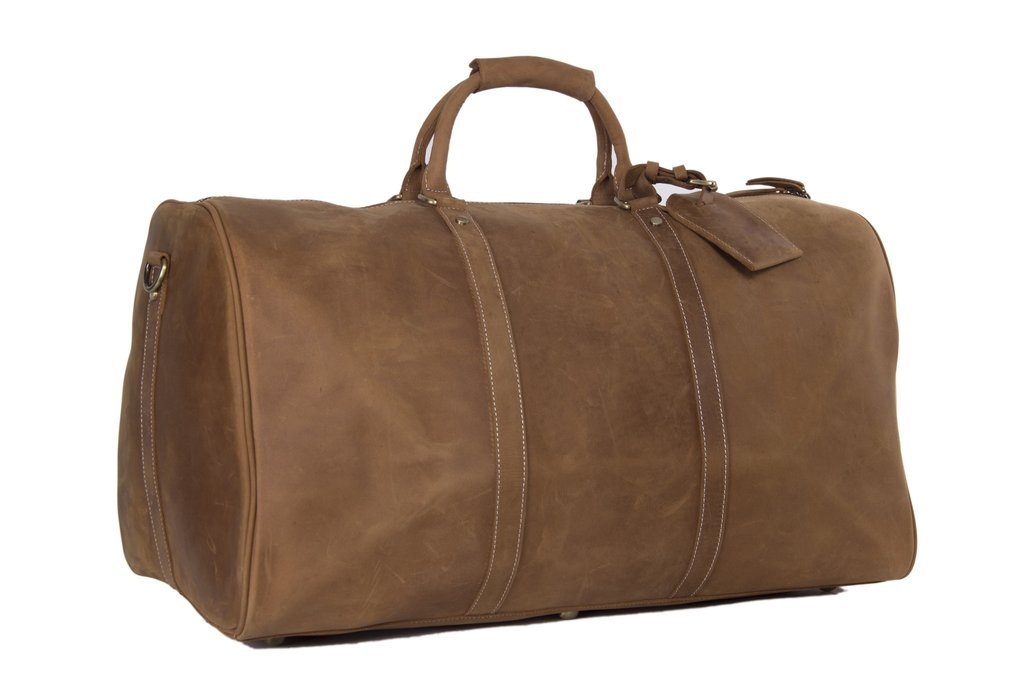 Men's Leather Holdall Duffel Weekender Travel Bag Leather Overnight Bag - Vintage Brown