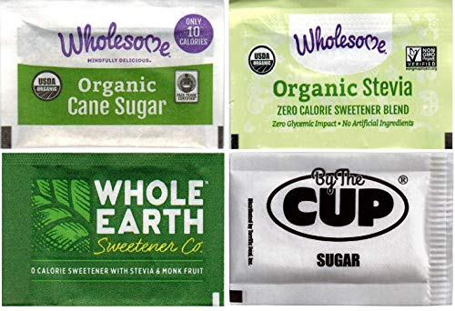 By The Cup Sugar Packet Variety - Wholesome Organic Cane Sugar, Organic Stevia, Whole Earth Nature Sweet - 50 Packets of Each (Pack of 200)