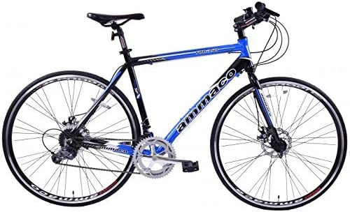 Ammaco FBR750 GENTS SPORTS ROAD BIKE 16 SPEED STRAIGHT BAR RACER WITH DISC BRAKES 55cm FRAME BLUE